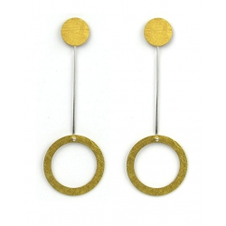 PENDIENTES TWO CIRCULAR LARGO EN ORO