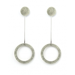 PENDIENTES TWO CIRCULAR LARGO EN PLATA